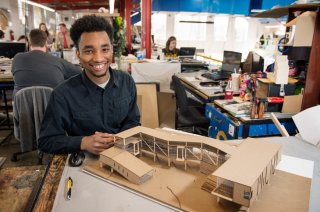Senior architecture major Larry Travis of Tougaloo utilizes work space in Giles Hall, home of MSU's School of Architecture and the College of Architecture, Art and Design. (Photo by Megan Bean)
